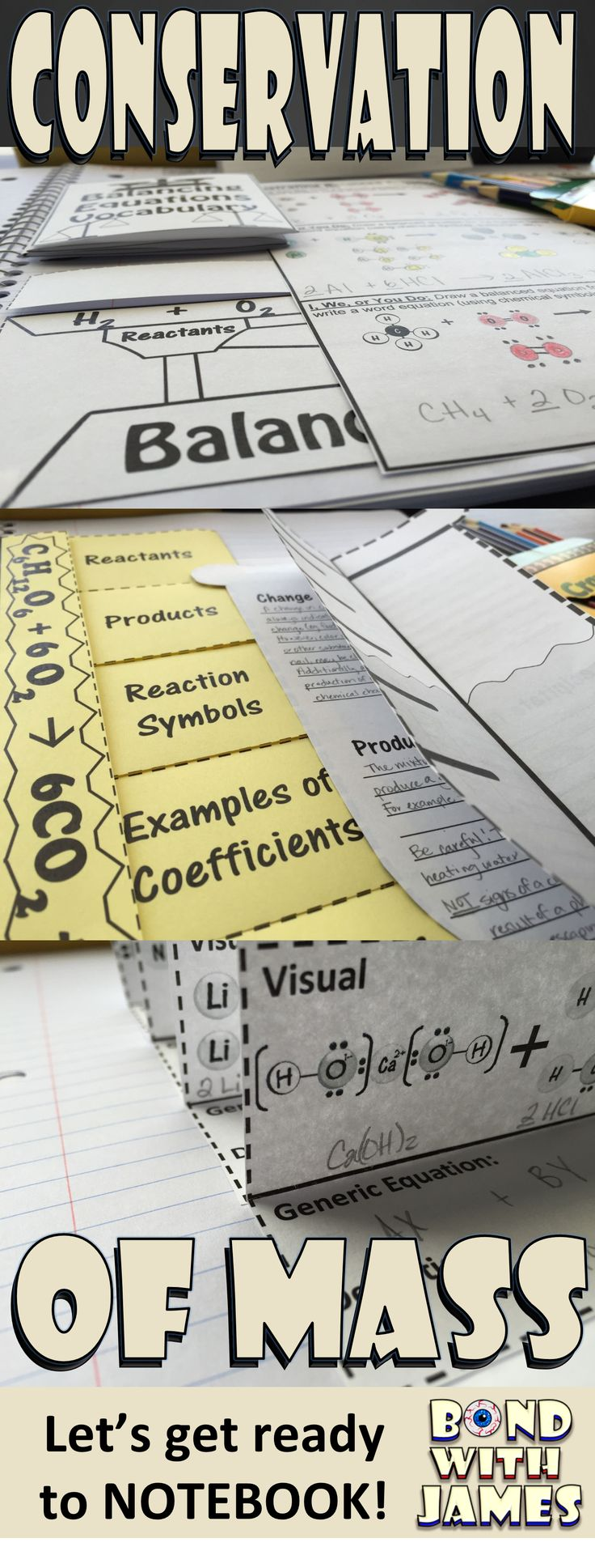 Enhance your chemistry interactive notebook (INB) with the Conservation of Mass for Chemistry Interactive Notebooks and Lapbooks. The product includes student notes and interactive graphic organizers (IGOs).