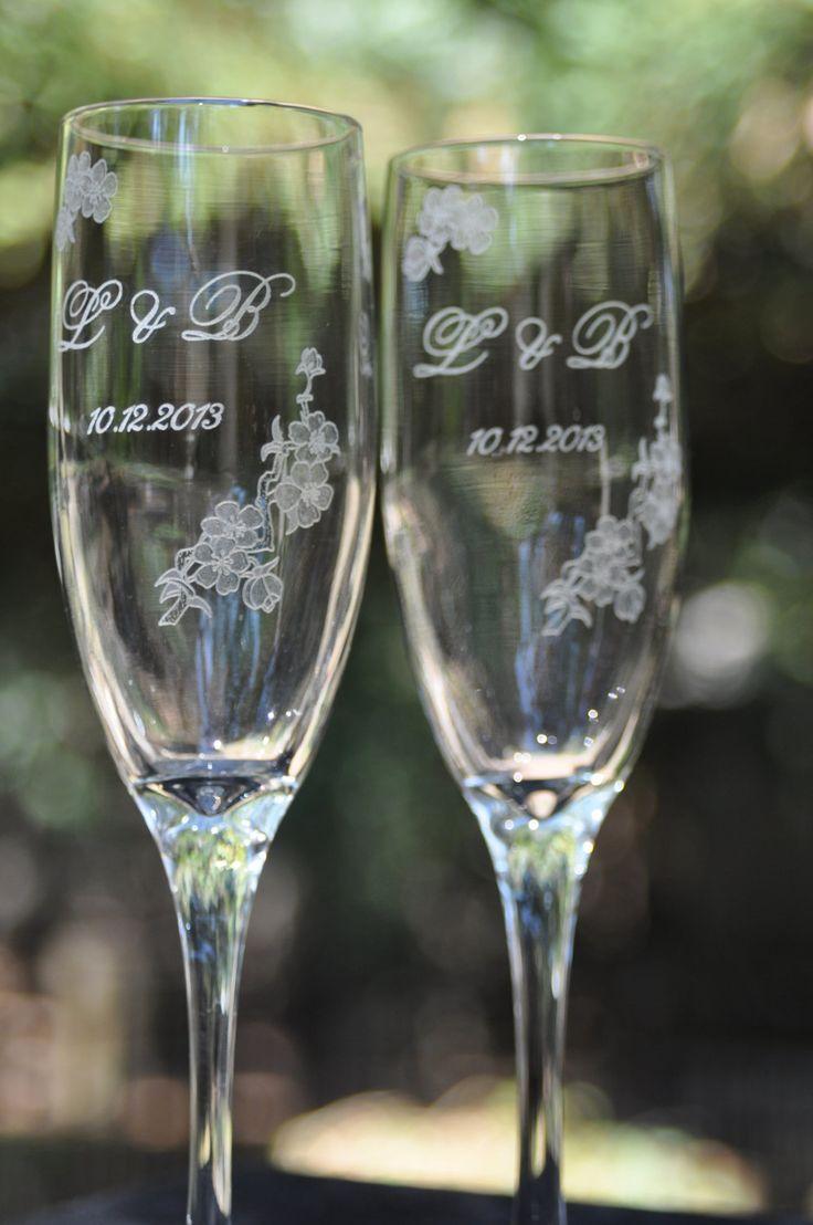 Champagne Flutes  Cherry Blossom Wedding by DesignImageryEngrav, $36.00