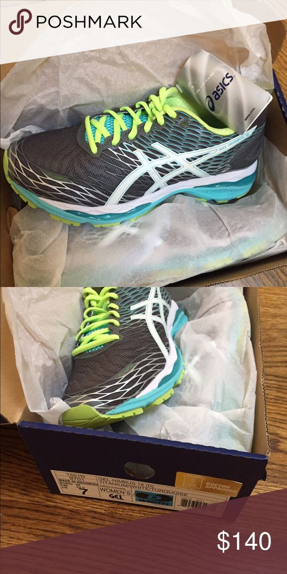 Asics gel nimbus 18 women's 7, D width Titanium white and turquoise. Brand new. In box, never worn Asics Shoes Sneakers
