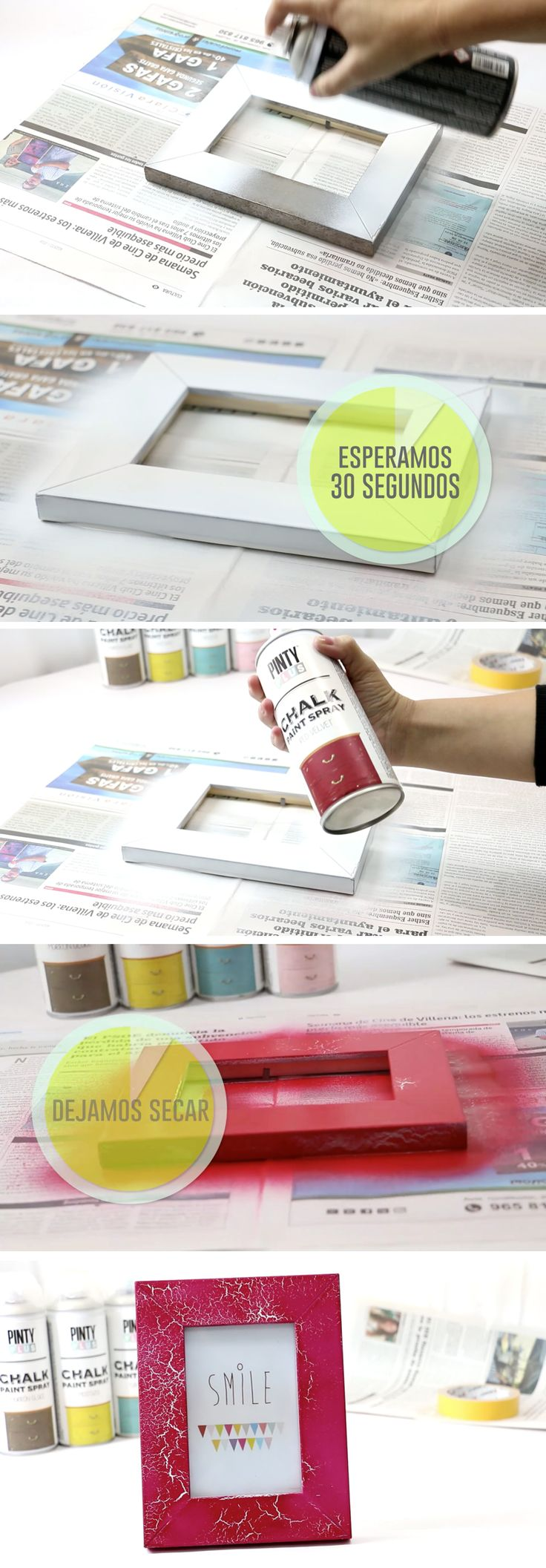 Craquelado con Imprimación Universal Pintyplus y chalk paint spray Pintyplus.  Supporting DIY with our spray paint.