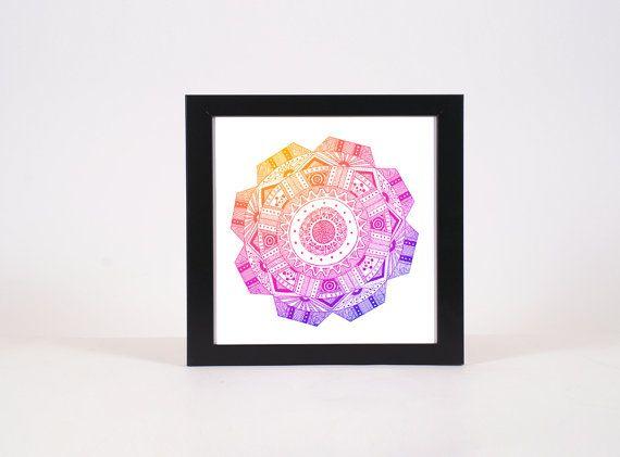 Ombre Mandala Print Hand Drawn Mandala Print by WestridgeART