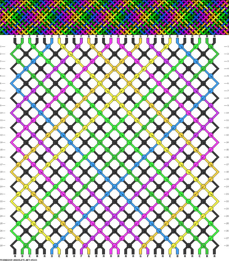 28 strings, 28 rows, 8 colors