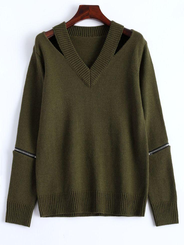 $20.27 V Neck Zipper Sweater