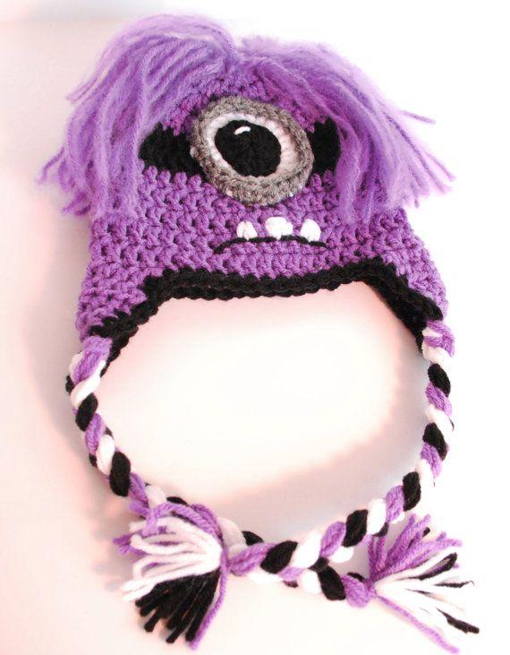 Crochet Minion Hat - Crochet Purple Minion Hats with Ear Flaps, Evil Minion H...