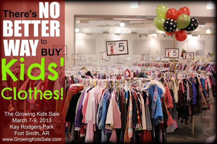 The Growing Kids Consignment Sale of Fort Smith, Arkansas!  Open to the public on Thurs-Sat, March 7-9th at the Kay Rodgers Park Expo Bldg from 10am-8pm daily!  FREE admission & parking!  www.GrowingKidsSa...