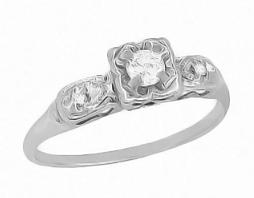 b5c5fffa22ddf 1950's Heirloom Diamond Engagement Ring in 14 Karat White Gold ...