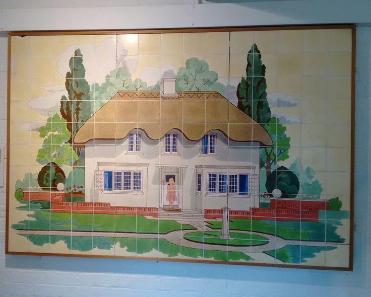 Decoration formerly at Ealing hospital, depicting Princess Elizabeth's Welsh cottage, at Jackfield Tile Museum, Ironbridge, Shropshire. September 2016. Photo by Graham Brown.