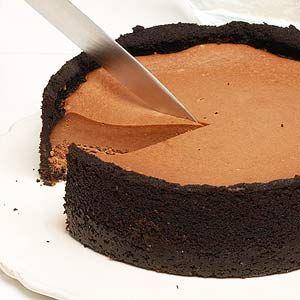 Chocolate Irish Cream Cheesecake: Irish liqueur gives creamy chocolate cheesecake a St.