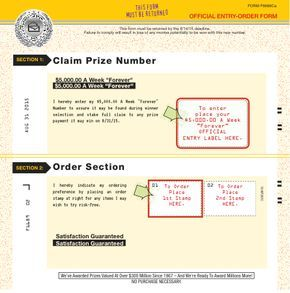 Winning Number Notification Plan Entry-Order Form