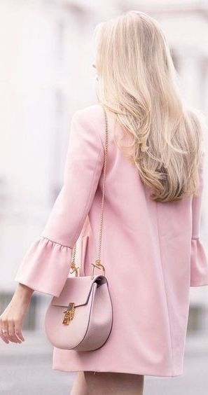 Pink Dress With Bell Sleeves And Chloe Bag