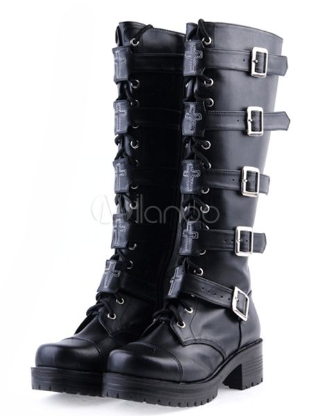 Black PU Lace Up Buckle Knee High Lolita Boots - Milanoo.com