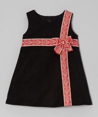 Black & Red Corduroy Bow Dress -