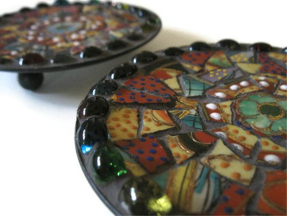 Ring Dish Candle Holders Trinket Holder Mosaic Art Home Decoration Broken China Metal Plate  sc 1 st  Pinterest & 101 best Unique Candle Holders images on Pinterest | Candle holders ...