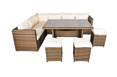 Savannah Rattan Garden Furniture 6 Seat Corner Sofa Glass Top Table Dining Set with Free Parasol, Ottoman Stools, Dust Cover, Cushions & 1 Yr Warranty