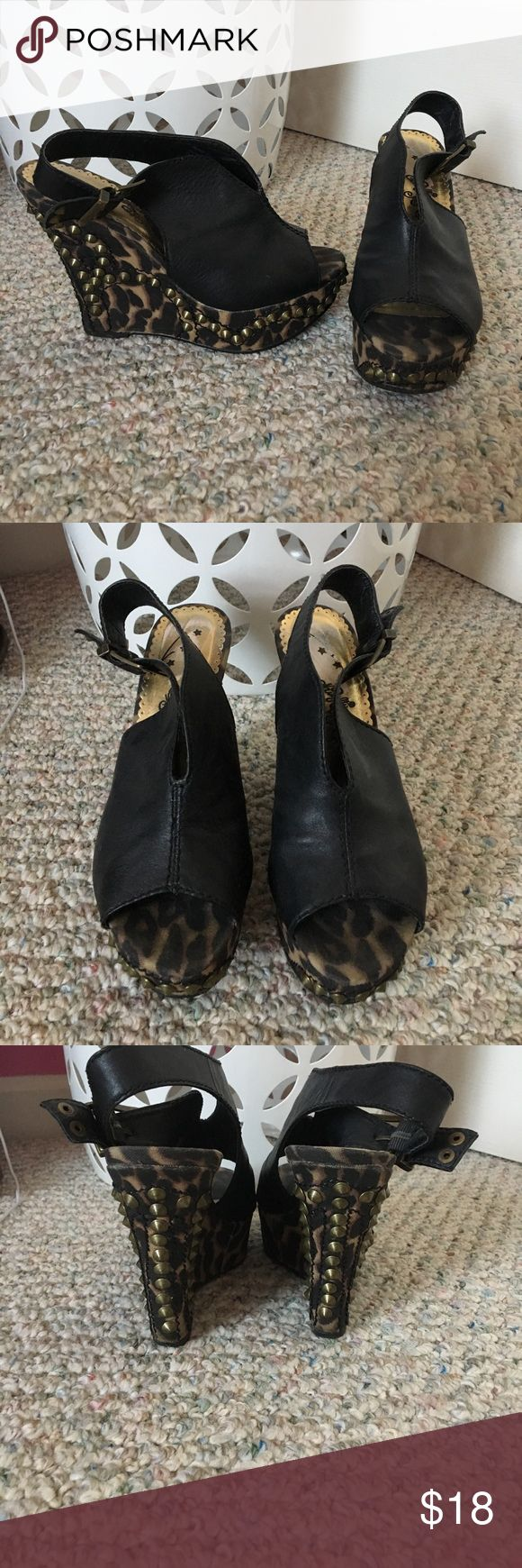 Black & leopard print wedges with studs Wedges in black with leopard print & studs ☮️ on the heel.... in great condition and very comfortable naughty monkey Shoes Sandals