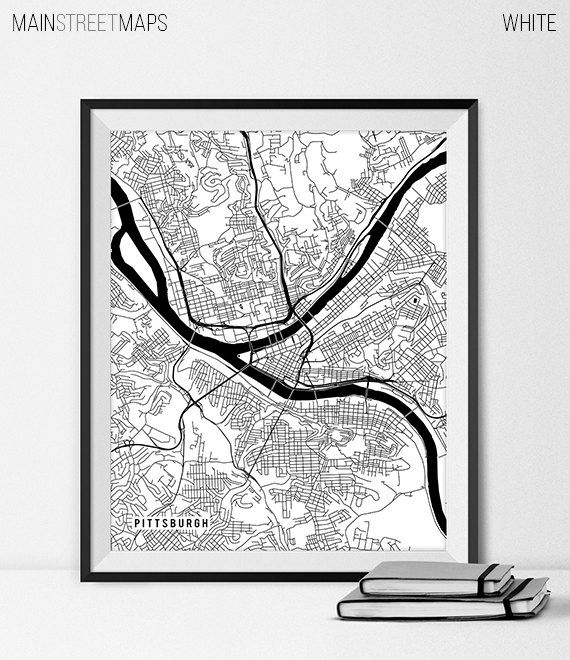Pittsburgh Pennsylvania State Map Art Print by MainStreetMaps