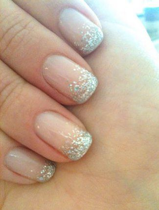 Cute #weddingnails with just the right amount of sparkle