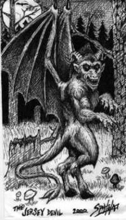 The Jersey Devil of the Pinelands Forest... Seen so many episodes on this guy on haunting shows as a kid. Scared the heck out of me...