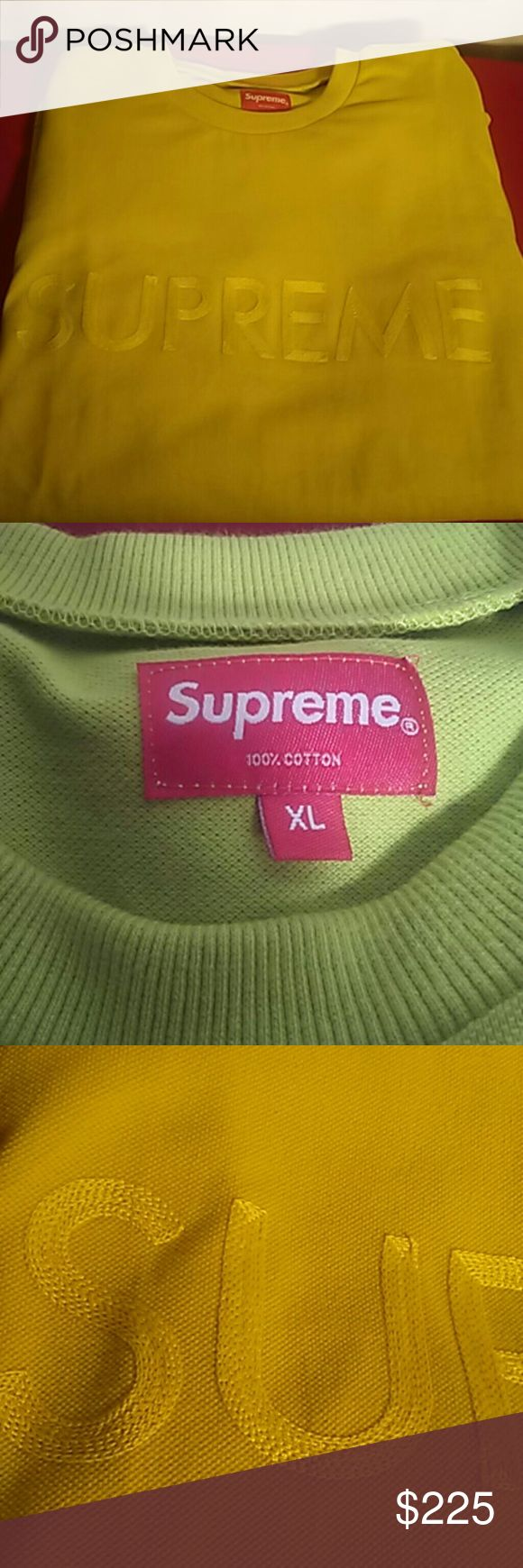 Supreme ss17 acid green sweater rare sold out 100% authentic supreme ss17 acid green sweater Supreme Sweaters Crewneck