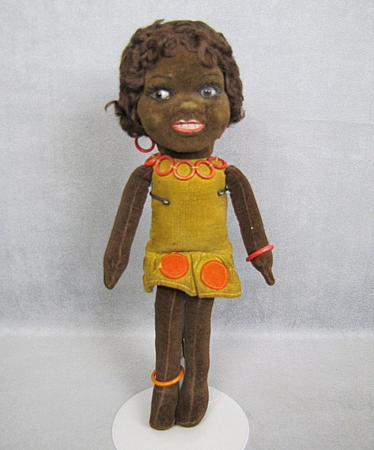 Norah Wellings Cloth Doll GLASS Eyes Black Islander All Original