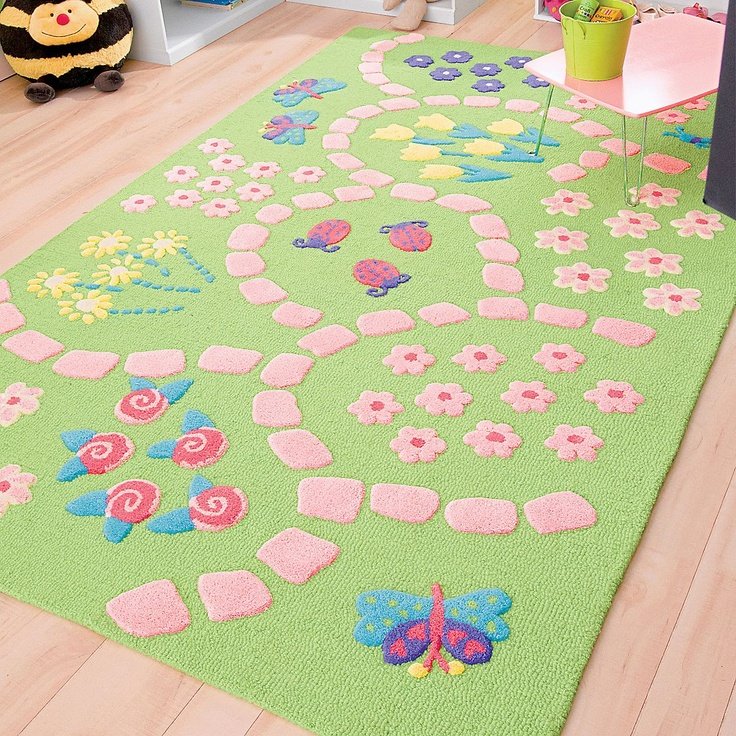 Pretty Pink And Green Rug For Little Girls Room.