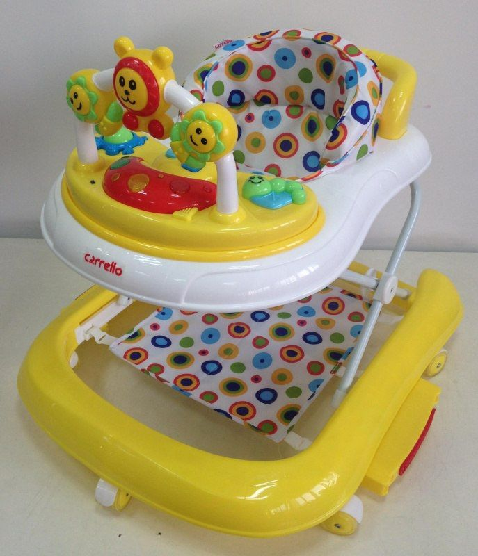 Ходунки Carrello CRL-9602 yellow с качалкой  Цена: 38 AFN  Артикул: CRL-9602 y  Яркие, симпатичные, удобные детские ходунки, с игровой панелью и веселыми игрушками, легко трансформируются в качалку для дополнительного развлечения малыша. Ходунки регулируются по высоте в нескольких положениях. Имеют стандартный размер, легко складываются при необходимости. Удобны и практичны в использовании.   Подробнее о товаре на нашем сайте…
