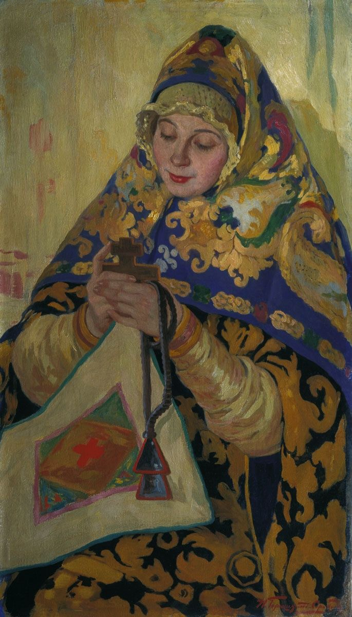 Russian costume in painting. Ivan S. Goryushkin-Sorokopudov. A Girl in the Costume from Vologda Province. Circa 1910.