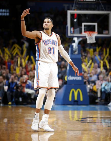Oklahoma City's Andre Roberson (21) celebrates a 3-pointer during an NBA basketball game between the Oklahoma City Thunder and the Portland Trail Blazers at Chesapeake Energy Arena in Oklahoma City, Tuesday, March 7, 2017. Photo by Bryan Terry, The Oklahoman