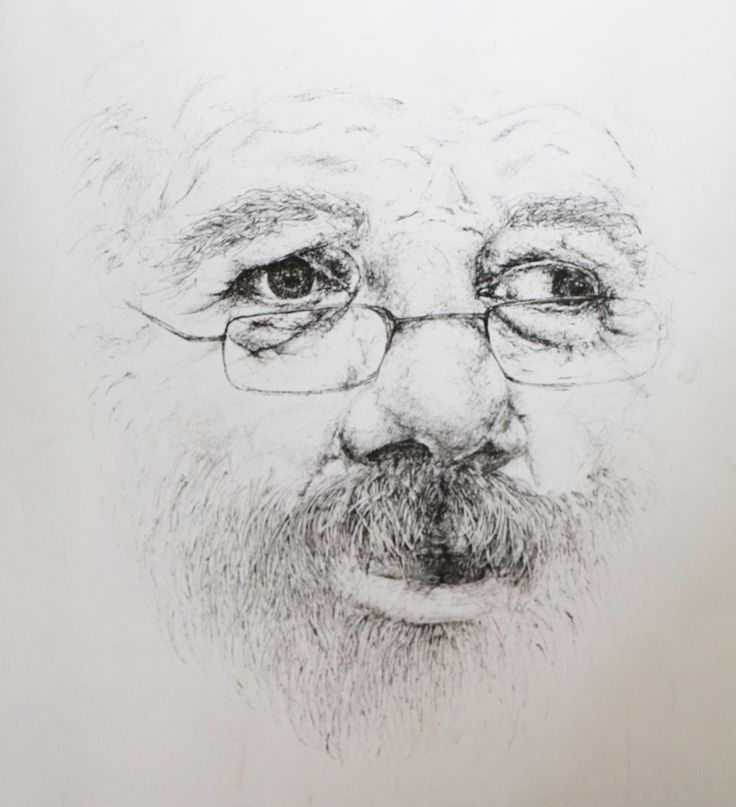 vieux roller vielle homme a la barbe dessin
