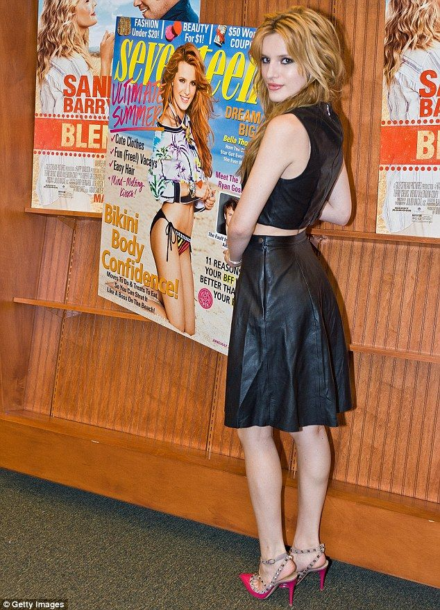 Edgy chic: Belle Thorne donned an all leather ensemble at a Seventeen celebration honouring her as its cover girl on Friday