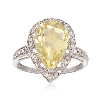 4.20 Carat Lime Quartz and .14 ct. t.w. Diamond Ring in Sterling Silver