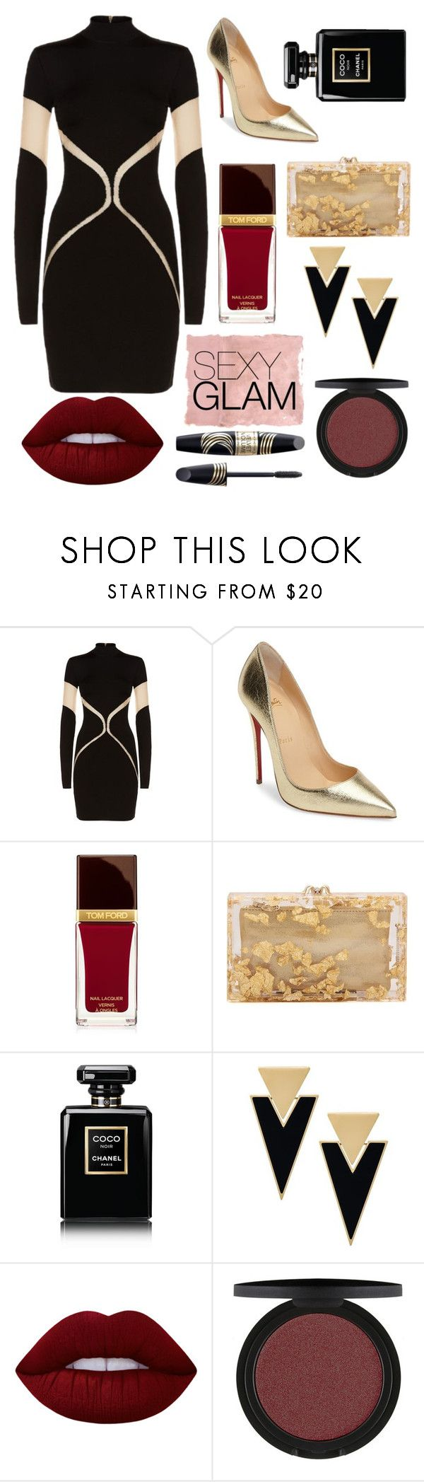 """""""Glamour Look for Tonight Party"""" by nataqisth ❤ liked on Polyvore featuring beauty, Rothko, Balmain, Christian Louboutin, Tom Ford, Max Factor, Charlotte Olympia, Chanel, Yves Saint Laurent and Lime Crime"""
