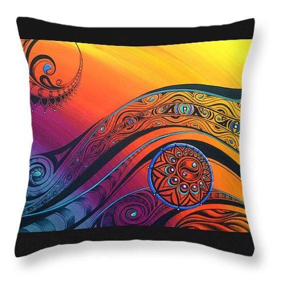 Throw Pillow by Reina Cottier Art http://reina-cottier.artistwebsites.com/products/tribal-flow-reina-cottier-throw-pillow-14-14.html