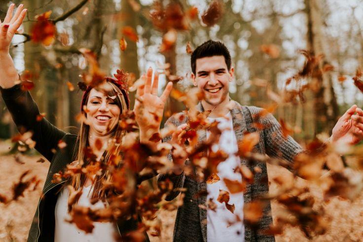 Leaf confetti! 100% natural! Photo by Benjamin Stuart Photography #weddingphotography #confetti #leaves #engagementshoot #couple