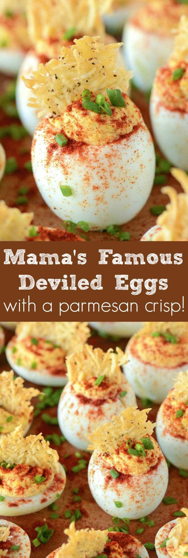 My Mama's famous deviled eggs with a cheesy parmesan crisp on top!