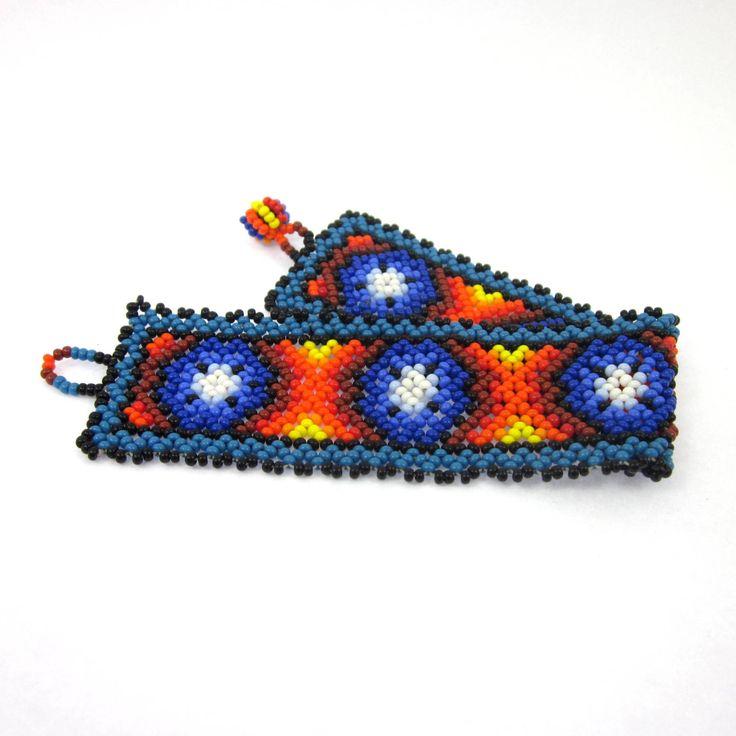 Huichol Bracelet Jewellery, Huichol Peyote Jewelry, Mexican Jewelry, Men's Bracelet by LeviathanJewelry on Etsy #huicholjewellery #hiucholpeyotejewelry