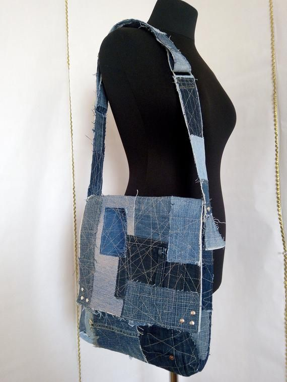 Sale! Hobo denim bag made from recycled jeans with pockets and lining Trend summ…