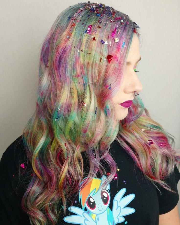 Rainbow Hair Stencil and Glitters | Rainbow hair color for long hair with glitters