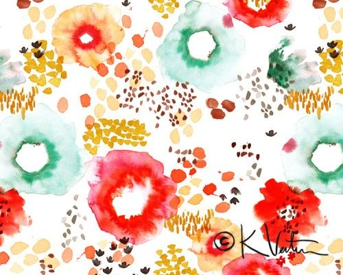 Pattern by Kelly Ventura via design*sponge. Watercolor + floral. What more could you want?