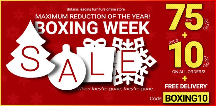 #BoxingWeekSale at Furniture Direct UK. Grace your home with latest #stylish, contemporary and #trendy #furniture. Shop from Furniture Direct UK,  Britain's leading online furniture store and get  Up to 75% Off + Extra 10% Off + Free Delivery over £200. Use coupon code BOXING10 at checkout. Hurry and grab an exciting #offer..!!  Offer valid till 1st January.