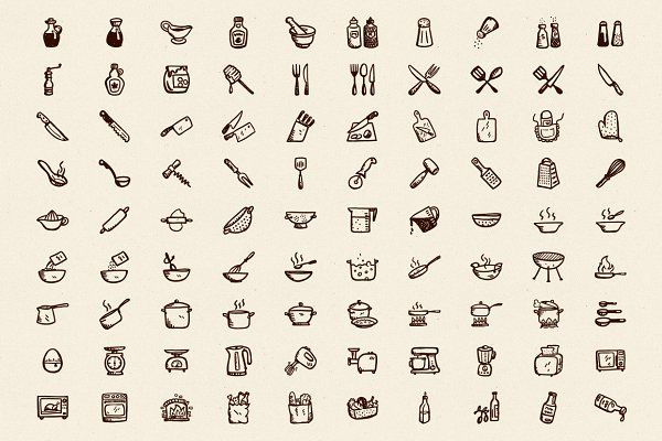 90 Hand-Drawn Kitchen Icons by Hand-drawn Goods on @creativemarket
