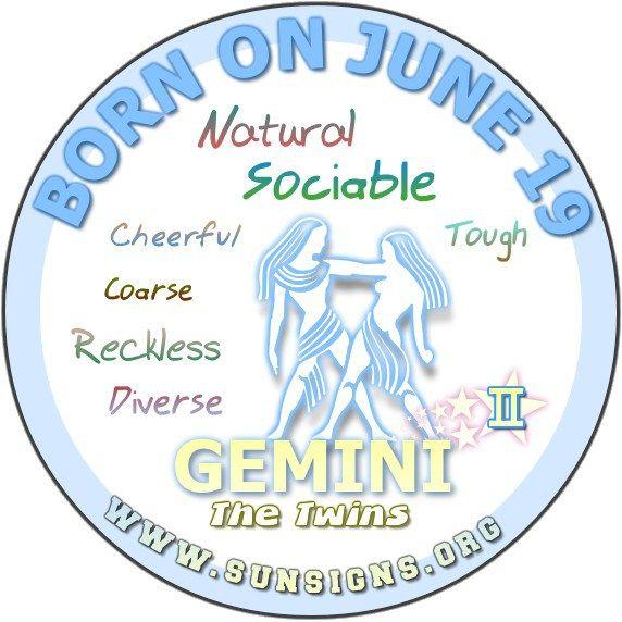 June 19 - Birthday Horoscope Personality » Sun Signs