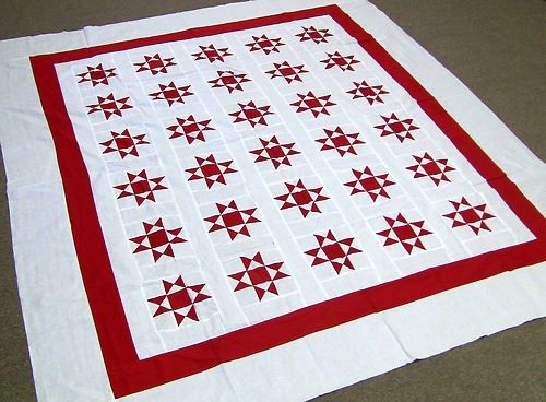 New Patchwork Red Amp White Ohio Star Quilt Top Ohio