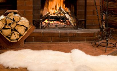sheep skin rug by the fire living room pinterest firewood fire and - Fireplace Rugs