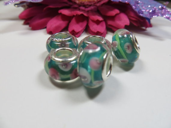 5pcs Teal and Pink Floral Murano Glass Beads by TheCraftShedd, $5.00Glasses Beads, 5Pcs Teal, Murano Glasses, Pink Floral, Crafts Shedd, Floral Murano