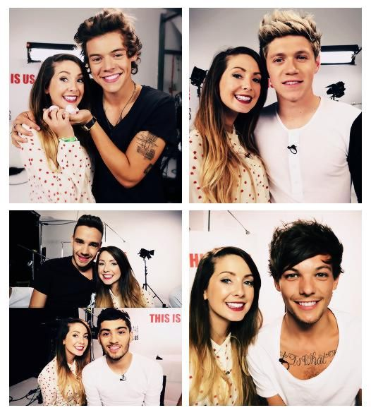 Zoe Sugg with One Direction. This lucky LUCKY girl :) Also: I love Zoella