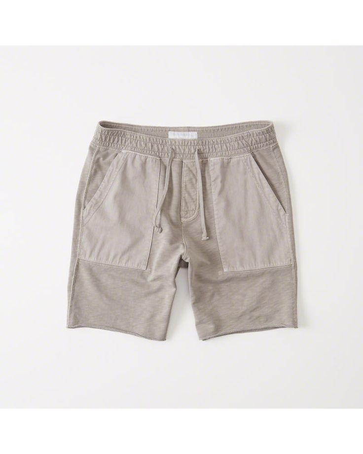 A&F Men's Washed Fleece Shorts in Light Brown - Size XXL