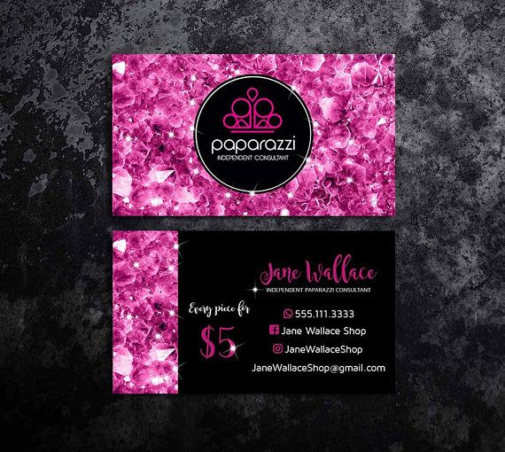 pink paparazzi business cards with pink gem paparazzi jewelry