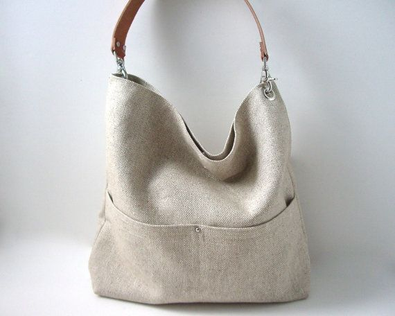 Simple Linen Tote Bag, Handbag,Day Bag, Resort Tote, Summer Tote Bag, Bucket Tote, Hobo Tote, Neutral, Natural, Women, Tote Bag