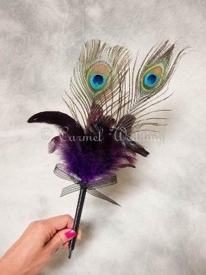 Purple Peacock Feather Pen  purple wedding pen by CarmelWedding, $14.99 by nora
